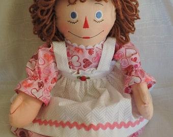 Raggedy Ann Doll, 20 inches,Handmade, Cloth Doll, Pink Hearts Fabric