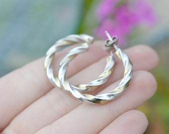 Large Sterling Silver and Gold Vermeil Two Tone Twisted Round Hoop Earrings