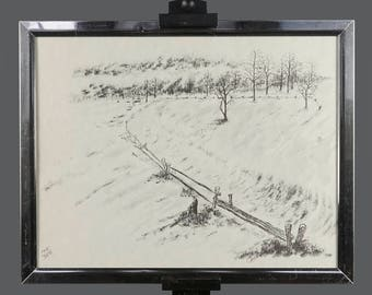 Vintage Lithograph Carole Limited Edition 145/350 14 x 11 Print Black & White Prairie Signed