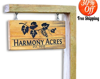 hanging house number signs.hanging house signs.house address signs.address sign post.first home.housewarming gift.new homeowner (Yard Sign)
