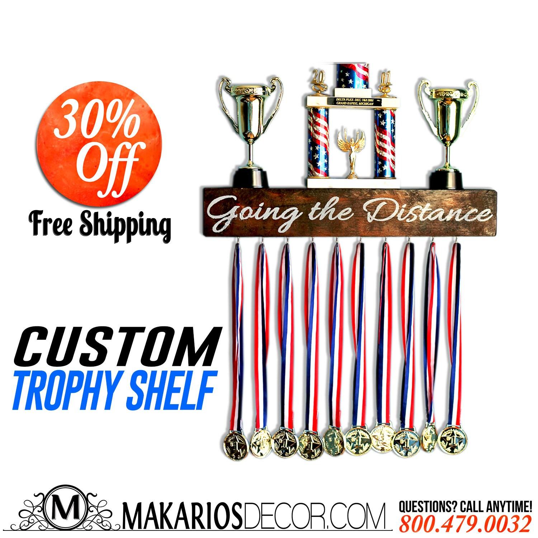 Christmas ornament display case - Trophy Display Trophy Case Wood Shelf Medal Holder Wood