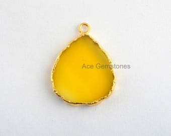 Handmade Yellow Chalcedony Slice Bezel Station Micron Gold Plated Sterling Silver Bezel Connector and Charm, 1 piece