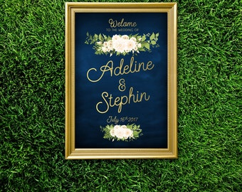 The JAYLA . Welcome Wedding Ceremony Sign . Navy Blue & Gold Calligraphy . Fern Dahlia White Rose Garland Green leaves . Large Printed Sign