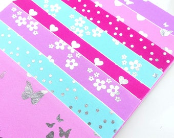 Silver foil self adhesive fabric sheets - set of 8 sheets - butterflies, polka dots, flowers, hearts | fabric sticker sheets