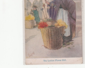 Antique Postcard Unused-Social History-The London Flower Girl-T. Gilson