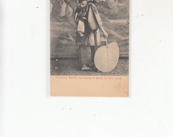 China Chinese Nurse(Amah)Carrying Child On Her Back Antique Postcard