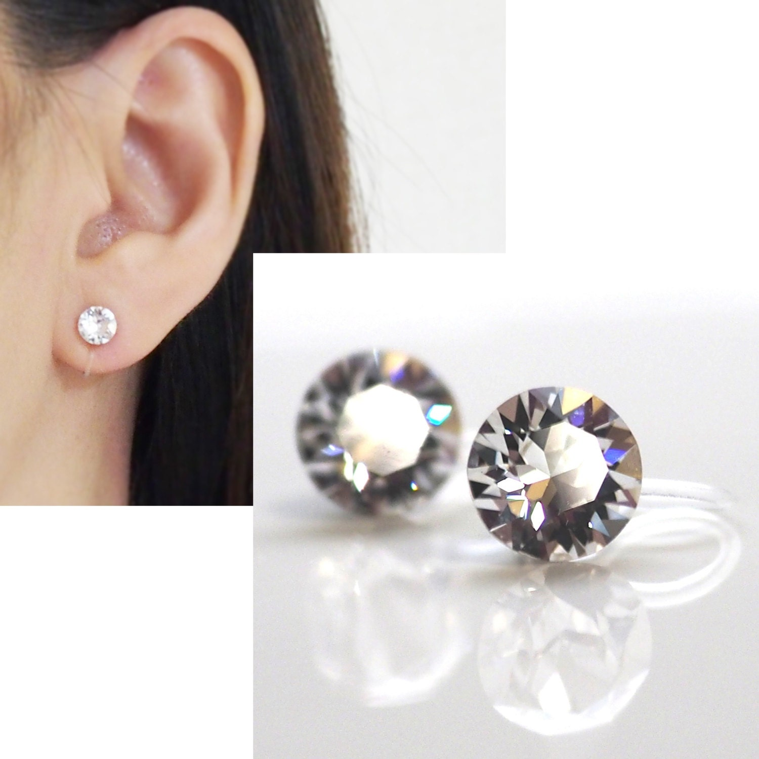 Details Crystal Swarovski Invisible Clip On Earrings
