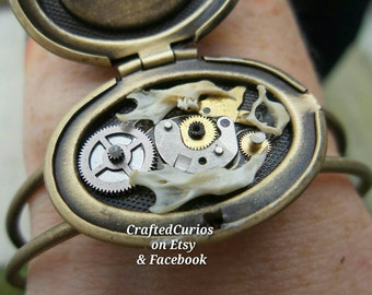 Steampunk Bracelet, Steampunk Jewelry, Bone Jewelry, Bone Bracelet, Locket Bracelet, Steampunk Locket, Oddities, Dragons Breath, Fire Opal