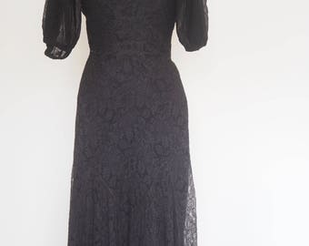 1930's Black Lace bias cut dress with Puff Sleeves, Art Deco !
