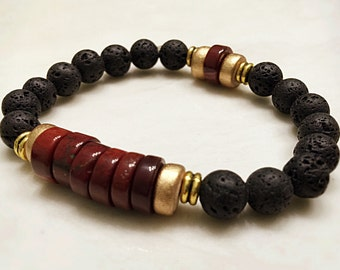 Lava Bracelet. Mala Yoga Bracelet. Healing Bracelet. Reiki Bracelet. Red Jasper Bracelet. Heishi. Mala Prayer Beads. Energy Bracelet. #M63