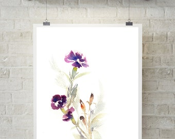 Floral Minimalist Print, Watercolor Painting of flowers, modern wall art, white background, violet green art