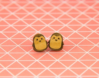 Wooden Penguin Earrings - Stud Earrings - Animal Lover - Lasercut - Wooden Earrings.