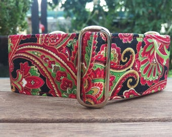 """Martingale Collar - Italian Greyhound, Whippet, Greyhound - 1"""", 1.5"""", 2"""" width - Red & Gold Paisley"""