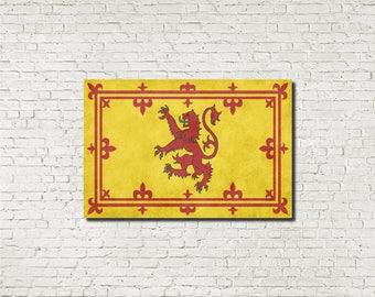 Scottish Lion Rampant Flag Poster Print Royal Banner of Scotland Flag Wall Art