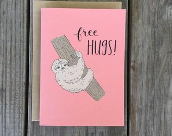 Cute Sloth Anniversary Card, Free Hugs Card, Sloth Card