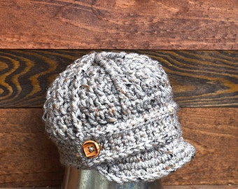 Boys Gray Newsboy Hat, Baby Boy Hat, Crochet Newsboy Hat, Boys Grey Hat, Toddler Gray Hat, Newborn Hat, Preemie Gray Hat, Photo Prop