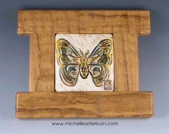 Framed Ceramic Tile - Moth (in Cream),Craftsmen Style Tile, Art Tile, Ceramic, Tile, Home Decor, Artisan Tile