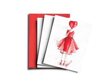 Valentine cards, Valentine's Day Card, Love cards, Love card set, Valentine card set, Cute love cards, Valentine's Day, Fashion cards