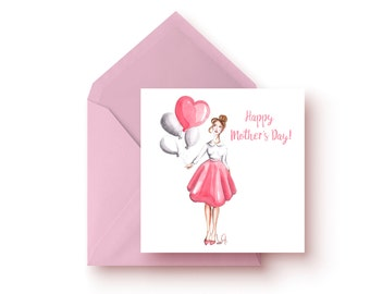 Mother's Day Card, Fashion Card, Card Mother's Day, Mother's Day gift, Gift for Mom, Fashion illustration, Card for mom, Mother Daughter