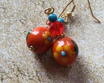 Orange Lampwork Flower Earrings, Flower Earrings, Lampwork Earrings, Orange Earrings, For Her, Gift Ideas