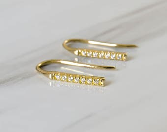 Gold Bar Earrings, tiny gold bar studs, gold cz line earrings, gold line studs, gold minimal earrings, gold cz earrings, zirconia bar studs