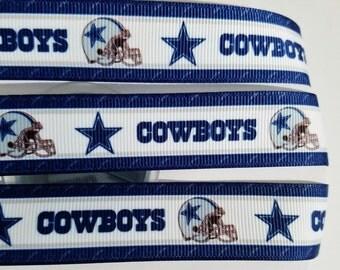 "7/8"" Dallas Cowboys Football Sport printed grosgrain ribbon hairbow/craft supplies by the yard"