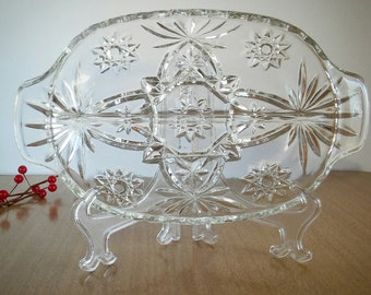 Vintage EAPG Divided Relish Dish Star of David, Vintage EAPG Star Relish Dish Double Handles