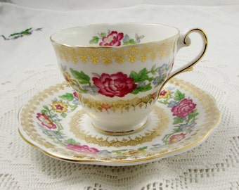 """Royal Standard Tea Cup and Saucer """"Indian Summer"""" with Flowers, Vintage Bone China"""