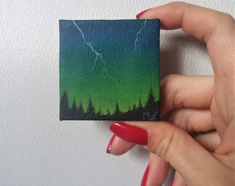Green Stormy Sky Painting, Lightning Storm Painting, Nature Painting, Miniature Painting, Tiny Painting, Landscape Painting, Forest Painting
