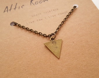 Gold Triangle Necklace, Geometric Chevron Necklace, Charm Necklace, Minimal Jewelry for Men and Women
