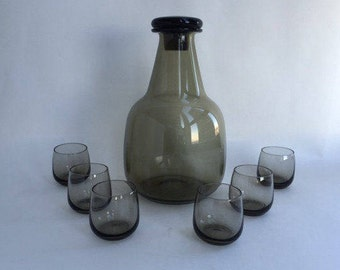 Gorgeous Blown Smoke glass Decanter and Six Tumblers