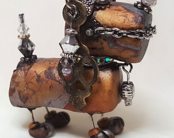 Mixed Media Polymer Clay Steampunk Robot Dog