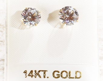 14K Solid Yellow Gold 8MM Round CZ Stud Earrings in Basket Setting, 2 Carats, April Birthstone Gift