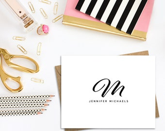 Folded Monogram Cards with White or Kraft Envelopes, A2 Single Cards in Bulk or Boxed Sets of 10