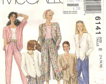 McCall's 6141 Size 14, 16, 18.  Women's sewing pattern, short or long sleeve top with shaped hem and v-neckline.  Culotte pants and shorts