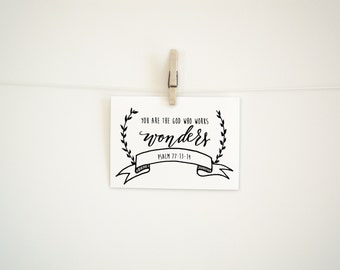 Hand Lettered  Print - You are the God who works wonders Print - 8 x 10
