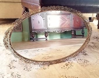 Huge Gold Vanity Tray, Vanity Mirror Tray, Gold Wall Mirror, Perfume Mirror Tray, Oval Mirror Tray, Mirrored Tray