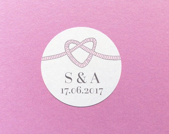 Wedding Sticker, Tie The Knot Label, Wedding Date Stickers, Wedding Initials Sticker, Knot Label, Personalised Wedding Labels, Invite Labels
