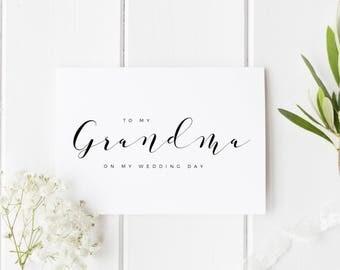 To My Grandma On My Wedding Day, Grandma Wedding Day Card, Calligraphy Wedding Card, Card For Nan Wedding Day, Grandparents Wedding Day Card