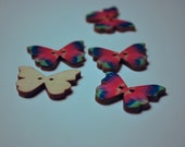 Wood Butterfly Buttons - set of 5, multicolor, red, pink, green, blue ,wing, 2 holes, white back, painted, cute,fancy, moth, spots, vibrant