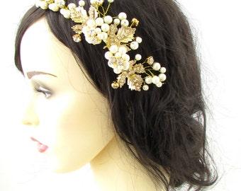 Gold Leaf Ivory Pearl Hair Vine Headband Headdress Bridal Grecian Hair Crown 950