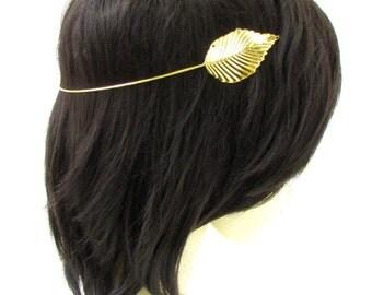 Gold Leaf Headband Headpiece Cuff Grecian Boho Vine Hair Laurel Roman Vtg 957