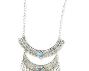 Silver Coral Turquoise Leaf Tassel Necklace Blogger Statement Feather Boho 1067