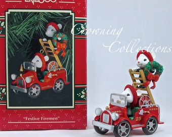Enesco Mice Festive Firemen Treasury of Christmas Ornament North Pole Fire Department Decorating Fire Truck Vintage Series 4th M. Gilmore