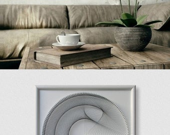 Wall Art Zen, White 3D Modern Abstract String Art, Framed ready to hang, Beautiful Sacred Geometry Art a special Gift, for Home or Office
