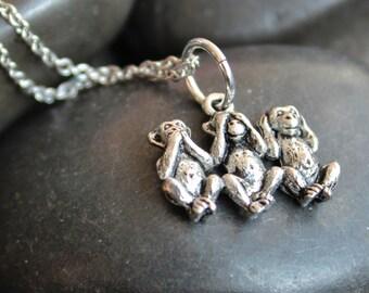 Three Monkeys Stainless Steel Necklace,3 Monkeys,See No Evil,Speak No Evil,Hear No Evil,Japan,monkey,zoo,primate,safari,baby,1422