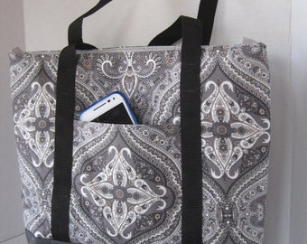 Handbag Tote Purse Women's Accessories Fabric Handmade Gray Paisley Tile Print