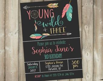 Young Wild Three - Girls 3rd Birthday Invitation - DIGITAL FILE