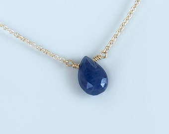 Dainty Sapphire Necklace - Sapphire Necklace - September Birthstone Necklace - Blue Sapphire Necklace Gold - Dainty Birthstone Necklace