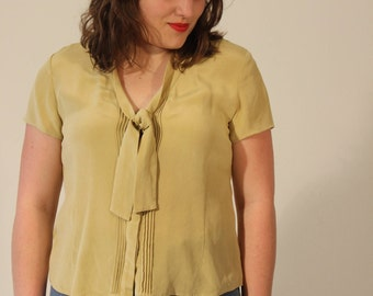 Mustard Blouse Yellow Blouse Short Sleeve Blouse Vintage 90s Mustard Yellow Button Down Short Sleeve Neck Tie Ascot Small Medium